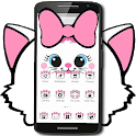 Cute White Marry Kitty Theme Pink Bowknot icon