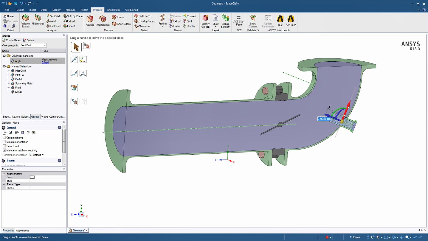 ANSYS SpaceClaim – популярный инструмент для работы с геометрией, который в данном примере используется для непосредственного изменения угла присоединения входного патрубка расходомера и создания соответствующей расчётной области жидкой среды