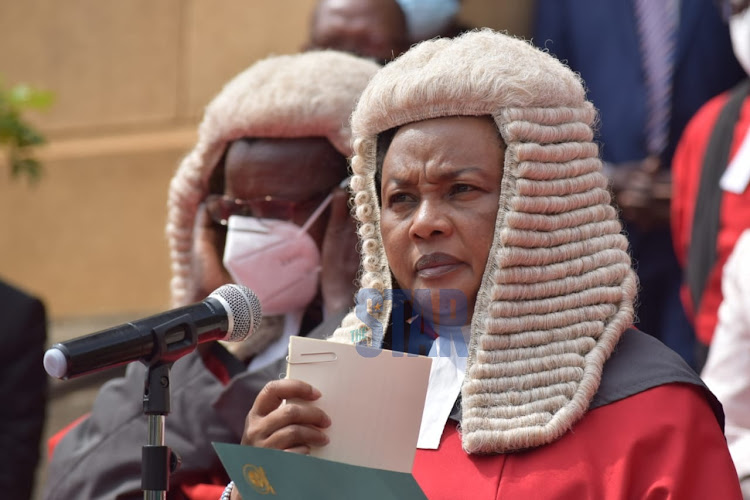 Acting CJ Philomena Mwilu at the Supreme Court on January 11, 2021.