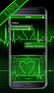 Live Green Neon Love Keyboard Theme - náhled