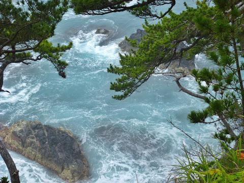 岬の先端から海を見下ろすとこんな感じ