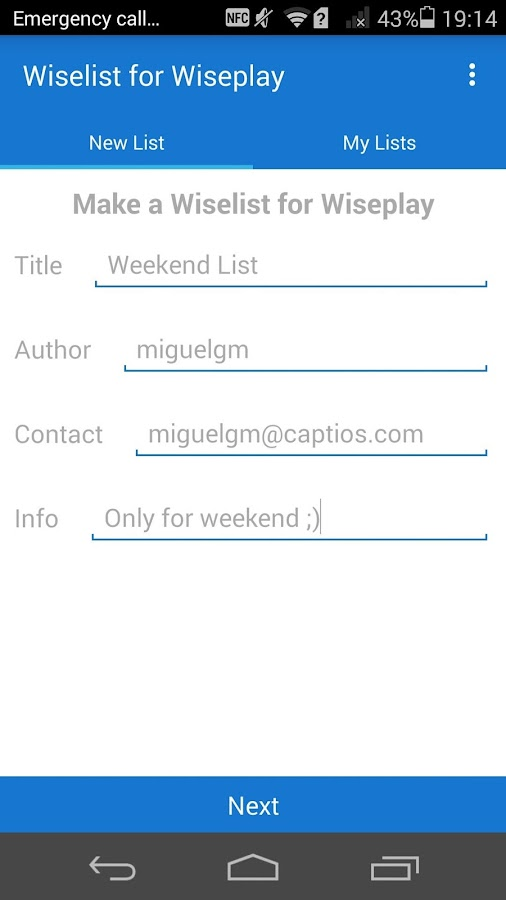 Wiselists for Wiseplay: captura de pantalla