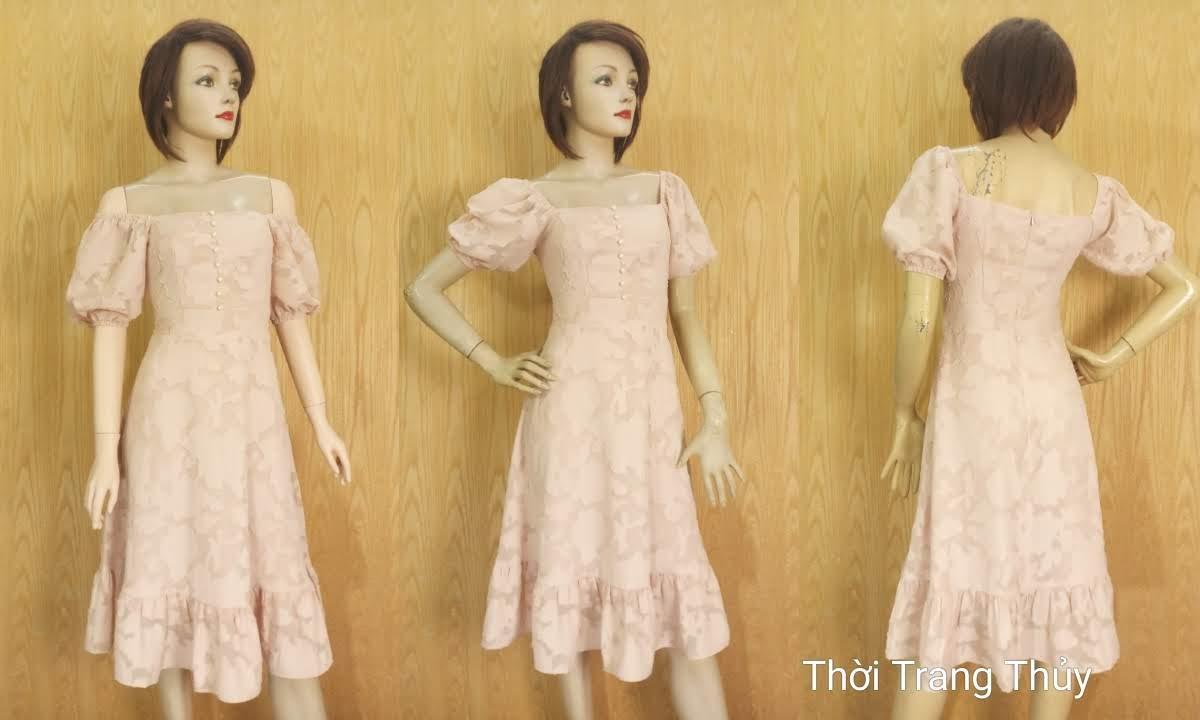 Váy xòe tay bồng cổ vuông vải ren V676 thời trang thủy
