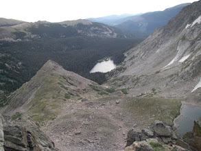 Photo: Point 11,635 and Thunder Lake from Boulder-Grand Pass.