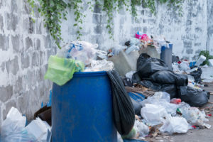 Rubbish piled up for house clearance rubbish removal