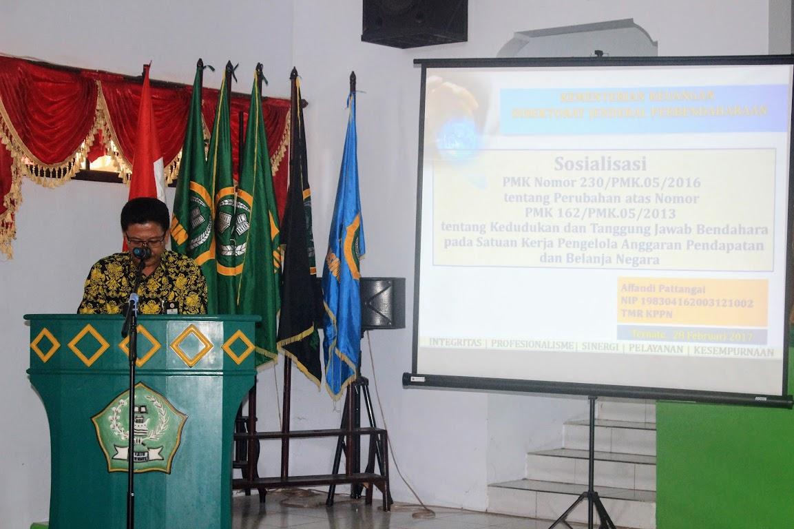 Pembukaan Sosialisasi oleh Kepala KPPN Ternate