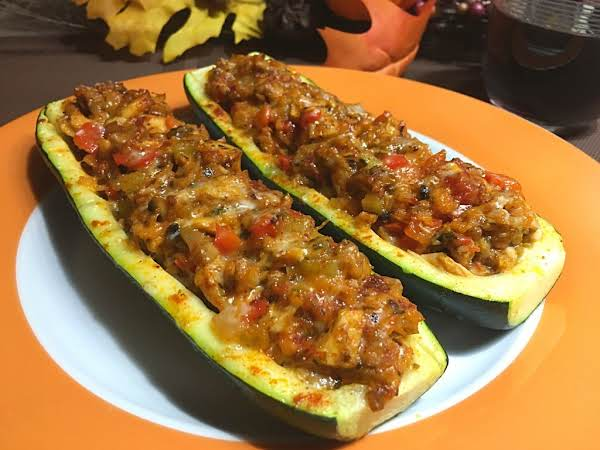 Zucchinis Stuffed With A Mixture Of Turkey Leftovers