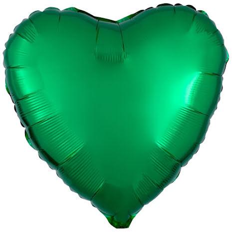 Folieballong, hjärta metallic grön 43 cm
