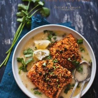 Panko Crusted Salmon in Piccata Sauce with Nigella Garlic Flatbread