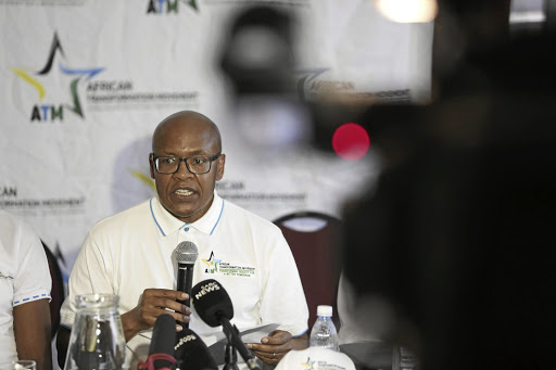 Former cabinet spokesperson Mzwanele Manyi addresses the media at the Joburg Theatre in Johannesburg yesterday, where he announced that he is joining the African Transformation Movement party.