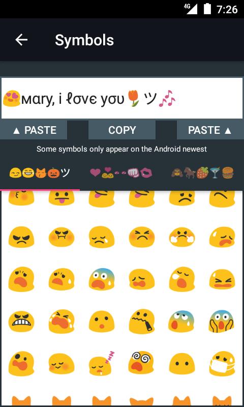 symbols emojis letters screenshot