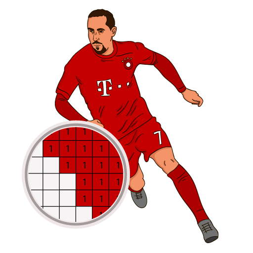 Pixel art Soccer players :Sandbox color by numbers Icon