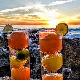 Drinks for 2 at sunset along the seawall by Jeffrey Lee - Food & Drink Alcohol & Drinks ( drinks for 2 at sunset along the seawall )