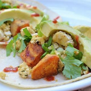 Cheesy Tofu Scramble + Chipotle Sweet Potato Tacos
