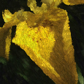 Yellow Flower by Ernie Kasper - Digital Art Abstract ( abstract, up close, nature, abstract art, upclose, outdoors, mosaic, flower )
