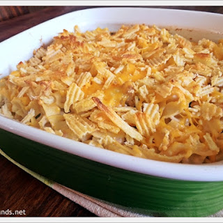 Cheesy Tuna Casserole with Crumbled Potato Chips.