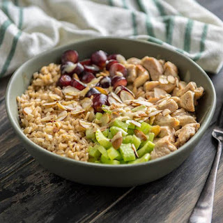 Healthy Chicken Salad Brown Rice Bowl.