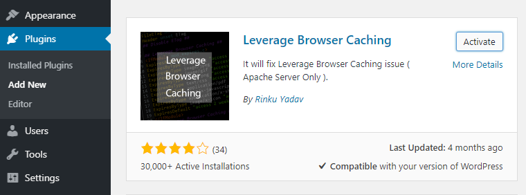 leverage browser caching plugin