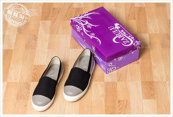 彈性布拼接牛皮厚底鞋