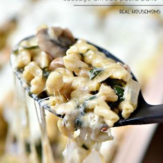 Roasted Mushroom, Spinach, Sausage Alfredo Pasta Bake