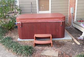 Photo: Working with the EZ Pad was a breeze. After leveling the ground I just placed the EZ Pad on the frame I made and put the hot tub on top.    Dave R., Jackson, MS