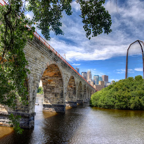 The Right Side of the Bridge by Dave Knapp - Buildings & Architecture Bridges & Suspended Structures ( cityscapes, stone arch bridge, minneapolis )