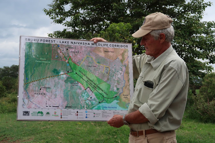 Land owner Renaldo Retief displays a map detailing wildlife corridors and dispersal areas in Naivasha.
