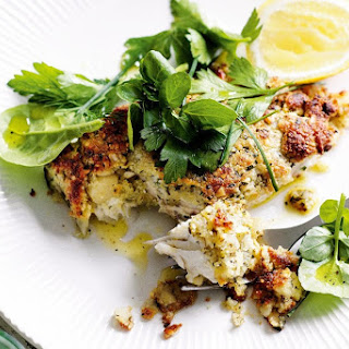 Macadamia-crusted Fish With Herb Salad.