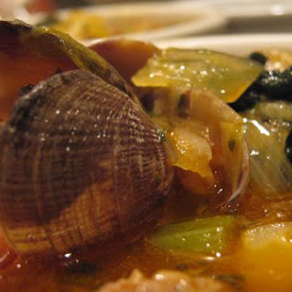 Portuguese Style Soup With Spicy Sausage & Clams