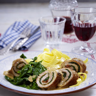 Braised Pork, Spinach and Gorgonzola Roulades