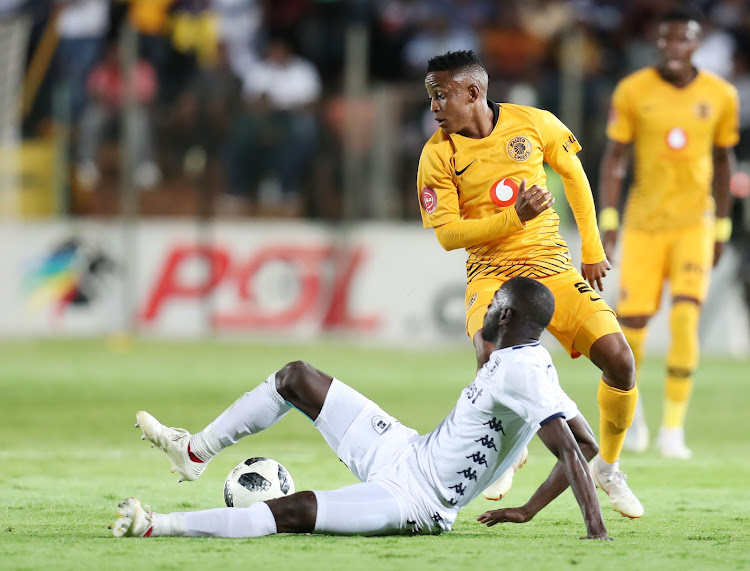 Hendrick Ekstein of Kaizer Chiefs challenged by Deon Hotto of Bidvest Wits during the Absa Premiership 2018/19 match between Bidvest Wits and Kaizer Chiefs at the Bidvest Stadium, Johannesburg on 09 January 2019.