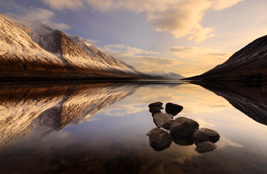 Loch Etive by Wolfy Pic - Landscapes Waterscapes ( glencoe, mountain, sunset, glen etive, reflections, loch etive, wolfy, light )