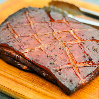 Smoked Pork Belly Marinated in Char Siu Sauce.