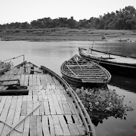 We're Boats on the River of Life by Bihong Kollogov - Black & White Objects & Still Life ( waterscape, monochrome, boats, river, black and white, philosophy, landscape, life )
