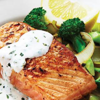 Salmon & Broccoli with Tangy Lemon Herb Sauce Recipe