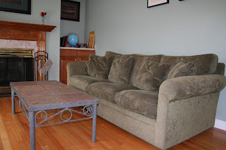 Photo: $300 Crate & Barrel couch (6' long) + $50Tile Coffee Table
