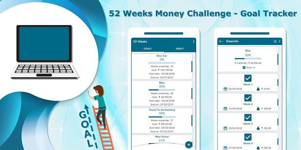 52 weeks money challenge goal tracker apps on google play