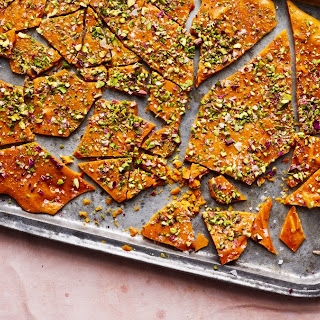 Saffron–Rose Water Brittle with Pistachios and Almonds.