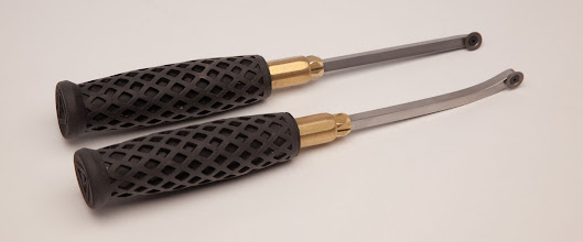 "Photo: TERRY LAMB – 10.5"" Carbide-Tipped Tools with Rubber & Brass Handles, named ""Rubbies"""
