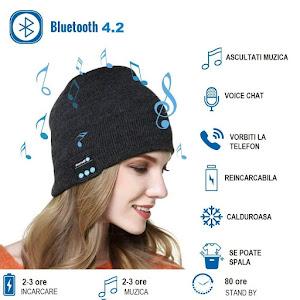 Caciula cu Bluetooth, Handsfree si Microfon, Unisex, Negru
