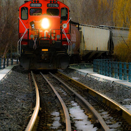 Run!! by Michel Bédard - Transportation Trains ( engine, autumn, tracks, old montreal, train )