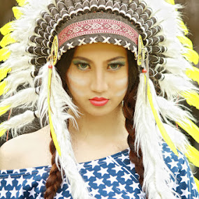 Indian Apache Girl by Adhetja Atmadja Wardana - People Portraits of Women