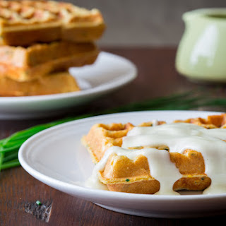 Savory Chive & Cornmeal Waffles with Cheddar Gravy.