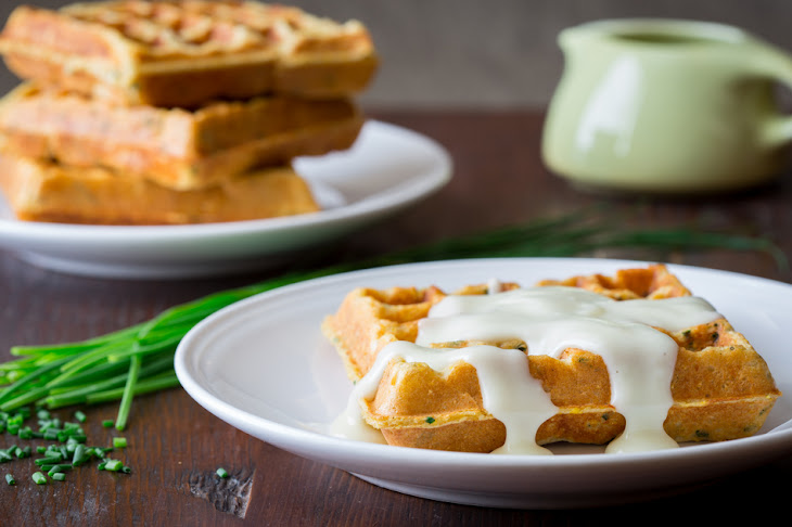 Savory Cornmeal And Chive Waffles With Salsa And Eggs Recipes ...