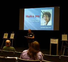 Photo: Michael Dylan Welch's presentation focused on the poetry of Haiku Northwest founder Francine Porad.