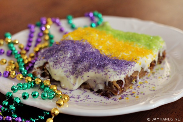 King Cake Bread Pudding with Bourbon Cream Cheese Frosting Recipe