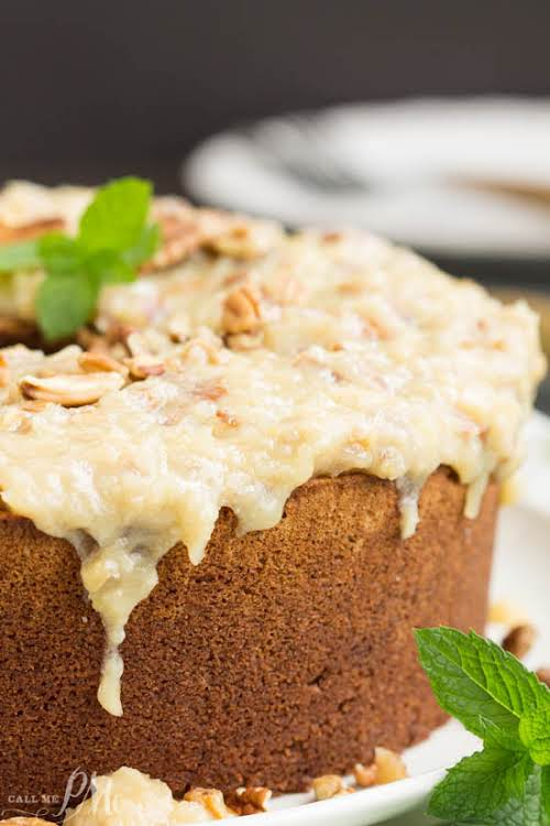 """German Chocolate Pound Cake with Coconut Pecan Frosting """"Not your traditional German..."""