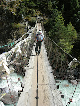 Photo: Crossing a bridge below Tengboche
