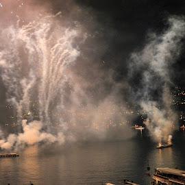 Locarno, Ticino, Switzerland by Serguei Ouklonski - Abstract Fire & Fireworks ( night, dark, fireworks, event, lake, lights )