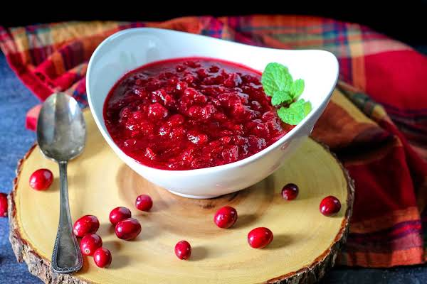 A Bowl Of Peach Schnapps Cranberry Sauce.